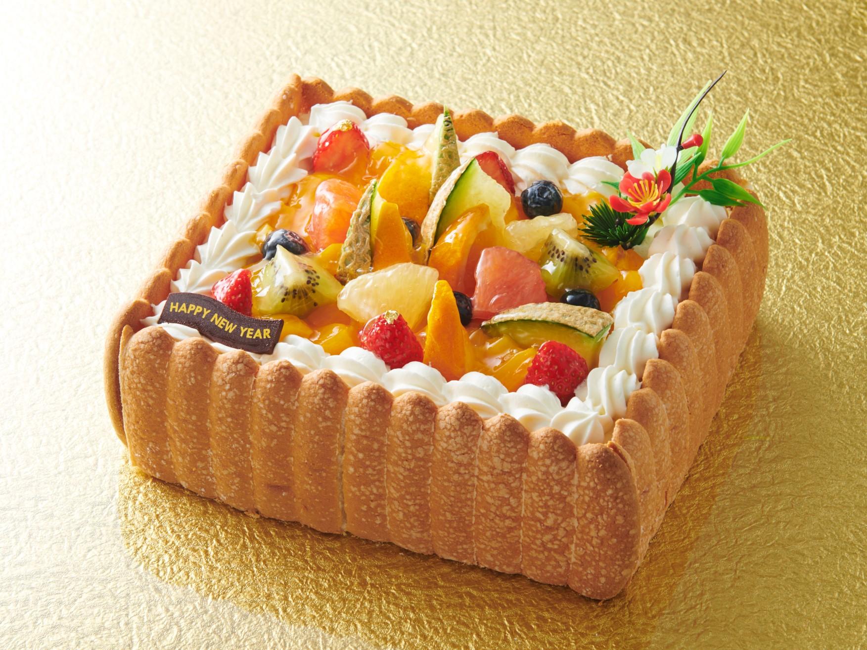 お正月ケーキ_スクエアデコレーション_画像