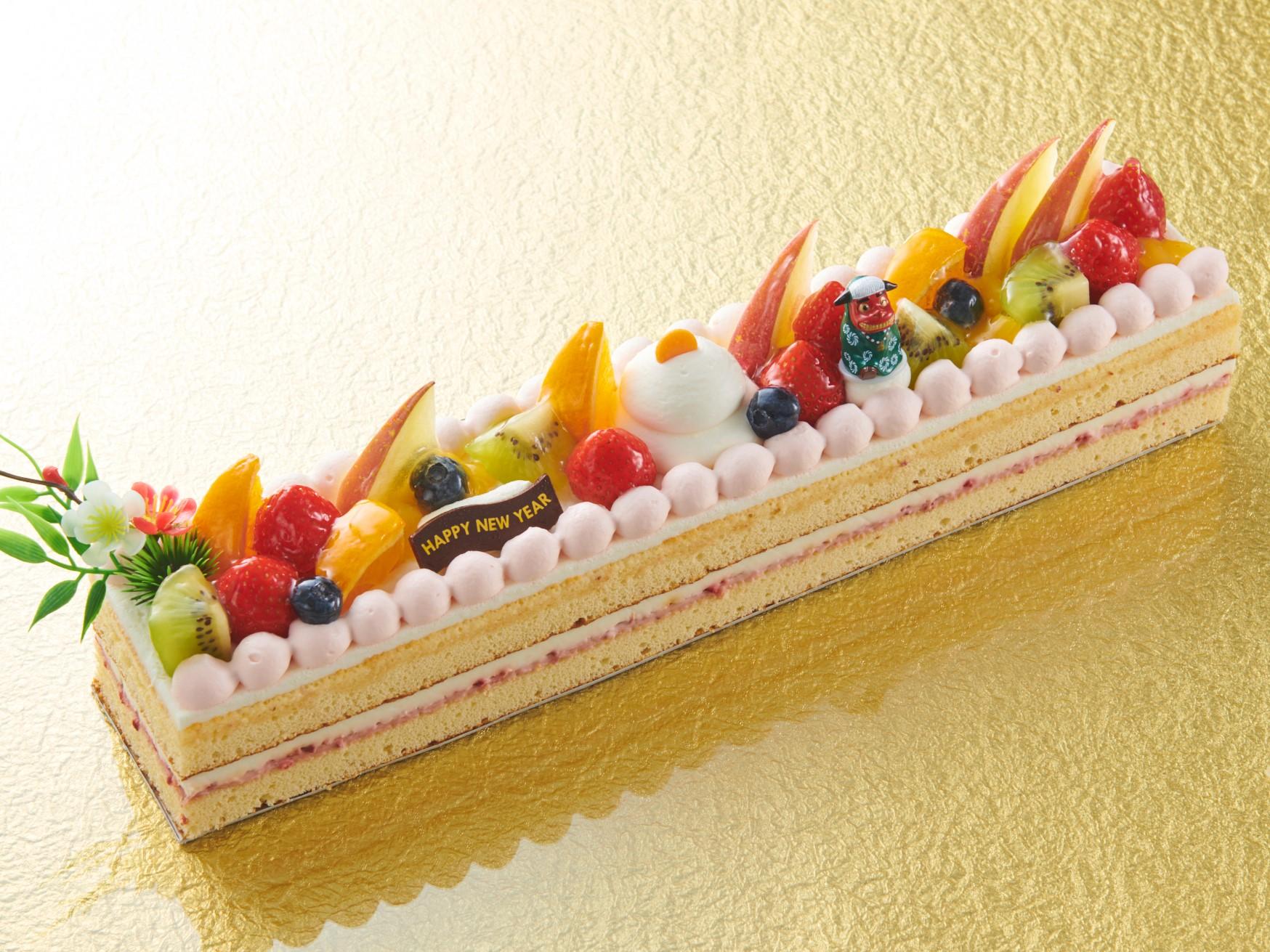 お正月ケーキ_ロングデコレーション_画像