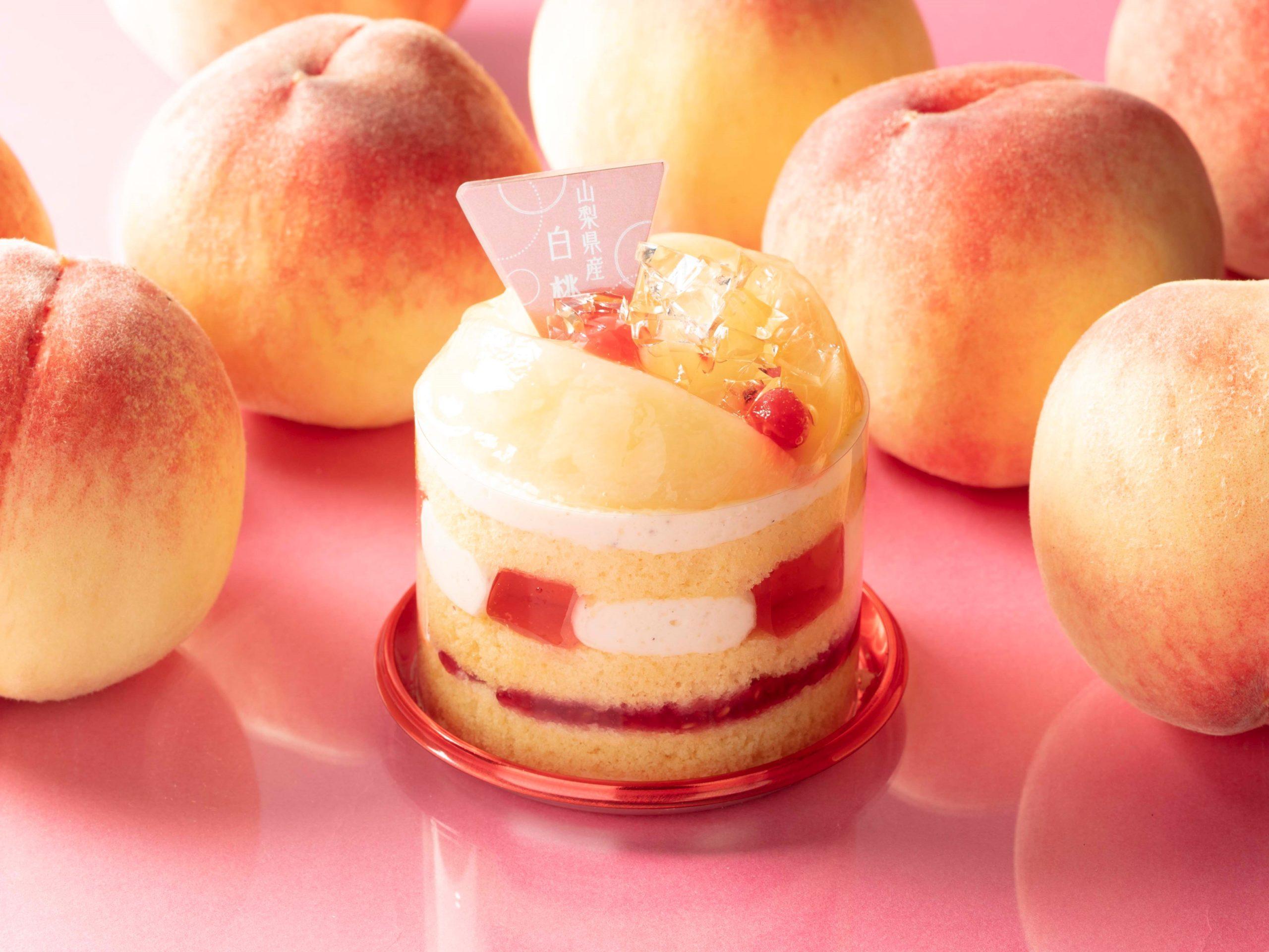 山梨県産白桃のケーキ_画像