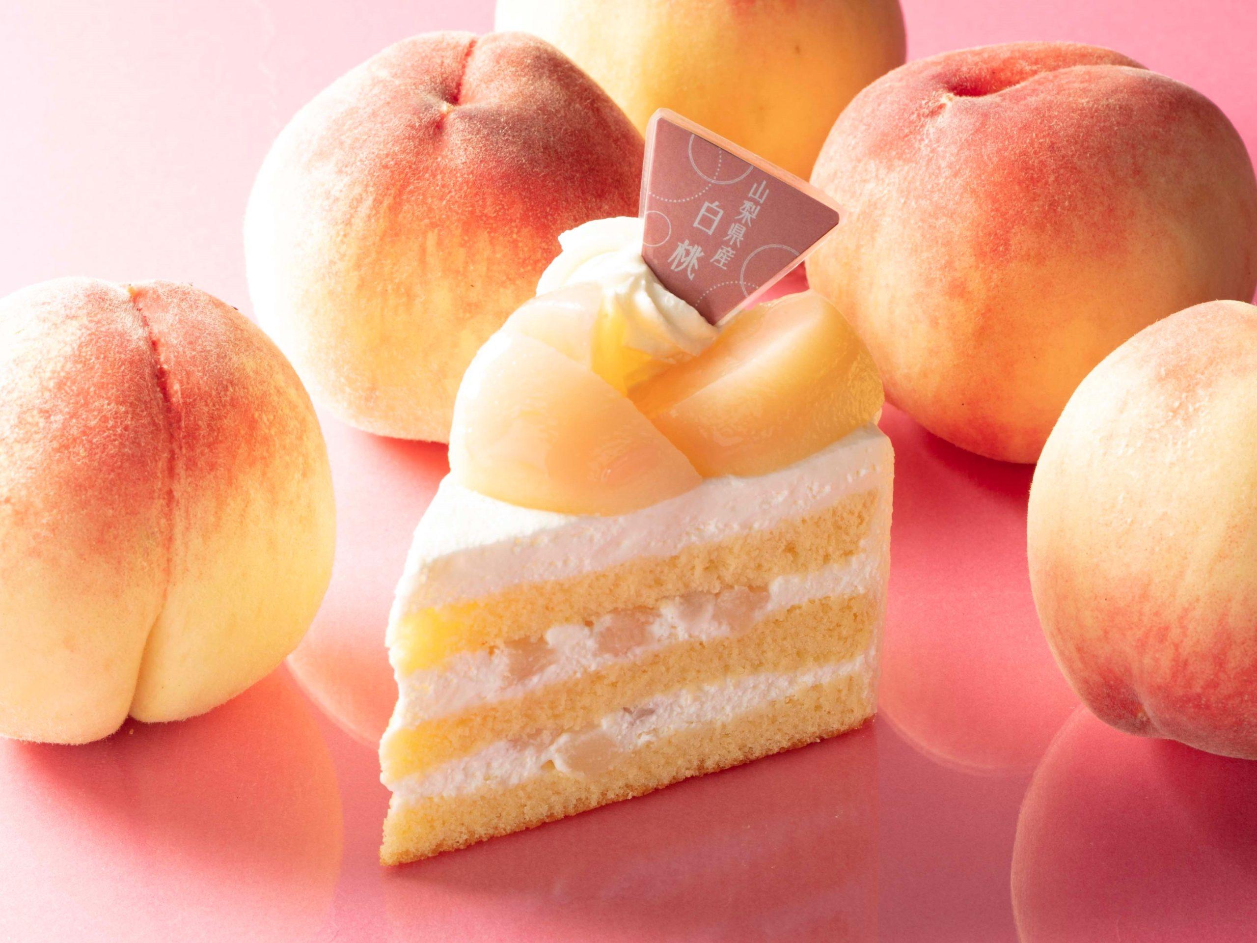 山梨県産白桃のプレミアム純生クリームショートケーキ_画像